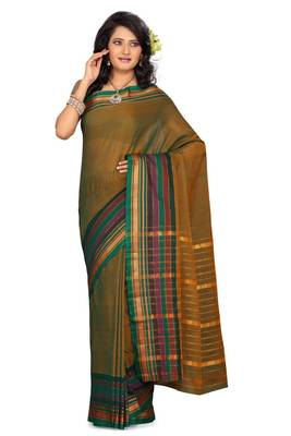ISHIN Cotton Olive Green Saree Sonali Rangeela