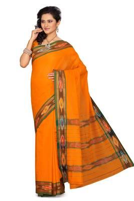 ISHIN Cotton Orange Saree Patola