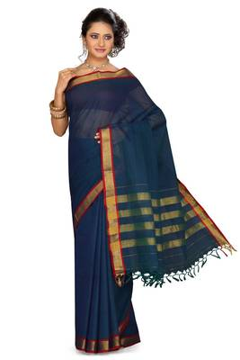 ISHIN Cotton Blue Saree Chandana