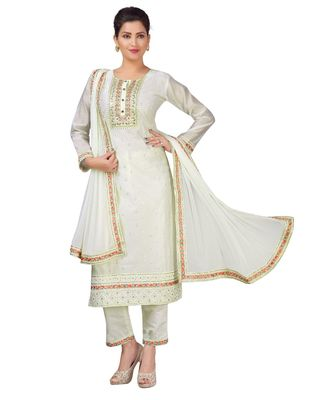 CREAM chiffon  CHANDERI