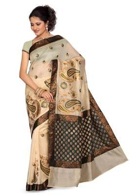 ISHIN Cotton-tussar Off White-Green Saree Kajal-B