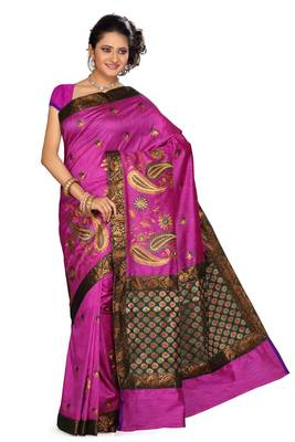 ISHIN Cotton-tussar Pink Saree Kajal-D