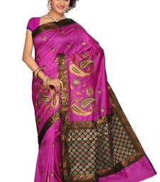 Buy ISHIN Cotton-tussar Pink Saree Kajal-D cotton-saree online
