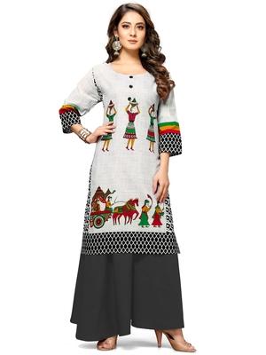 White printed cotton ethnic-kurtis