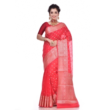 Red woven pure georgette saree with blouse