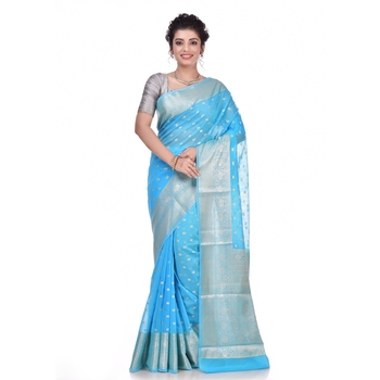 Sky blue woven pure georgette saree with blouse
