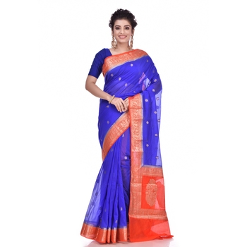 Royal blue woven chiffon saree with blouse