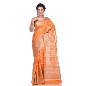 Orange woven pure linen saree with blouse