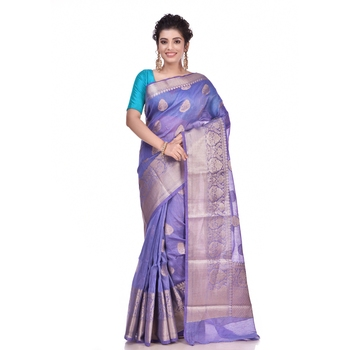 Purple woven pure linen saree with blouse