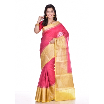 Rani pink woven pure linen saree with blouse