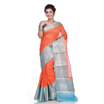Rust woven pure linen saree with blouse