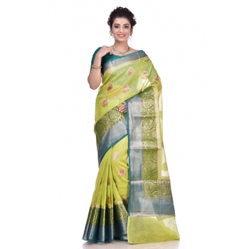 Green woven pure linen saree with blouse