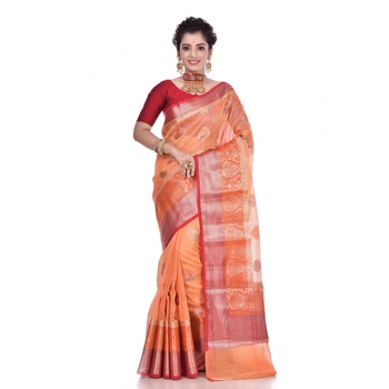 Peach woven pure linen saree with blouse