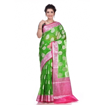 Green woven organza saree with blouse