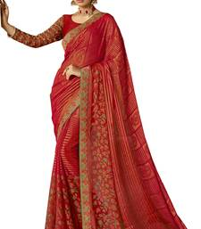 Red printed brasso saree with blouse