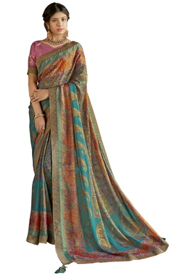 Turquoise printed brasso saree with blouse