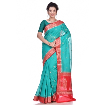 Dark green woven chiffon saree with blouse