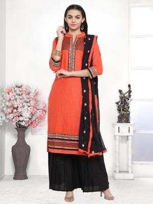 Kvsfab Peach Pure Cotton Embroiderd Patiala Dress Material