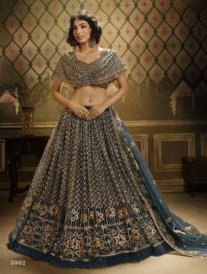 Dark-green sequins embroidered net semi stitched lehenga