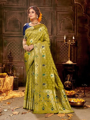 Olive woven banarasi silk saree with blouse
