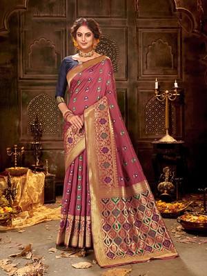 Onion pink woven banarasi silk saree with blouse
