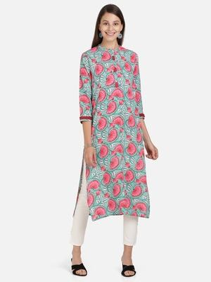 Vbuyz Women's Floral Print Straight Cotton Turquoise Kurti