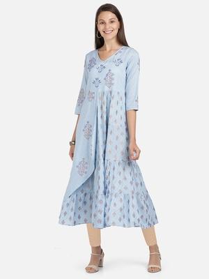 Vbuyz Women's Foil Print & Embroidered Anarkali Rayon Sky Blue Kurti