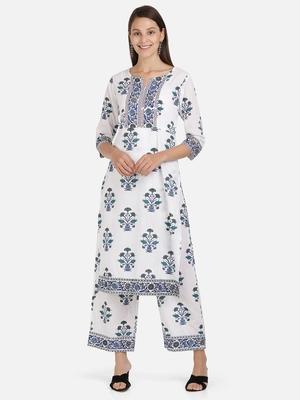 Vbuyz Women's Floral Print Straight Cotton White Kurta With Palazzo