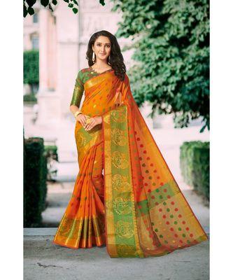 Orange Color Woven Designer Chanderi Silk Saree With Blouse Piece