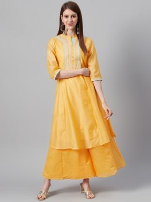 Mustard Chanderi Silk Embroidered Straight Kurta