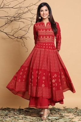 Maroon Shantoon Gold Foil Print Layered Ethnic Gown