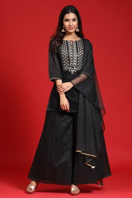 Black Chanderi Silk Embroidered Straight Kurta Palazzo Dupatta Set