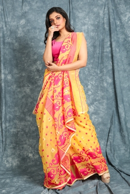 Light yellow jamdani saree with all over work