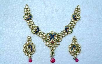 Kundan Mayur Meenakari Necklace Set