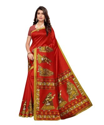 Red Printed Art Silk Saree With Blouse For Women