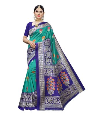 Teal Floral Printed Art Silk Saree With Blouse For Women