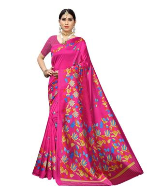 Pink Floral Printed Art Silk Saree With Blouse For Women