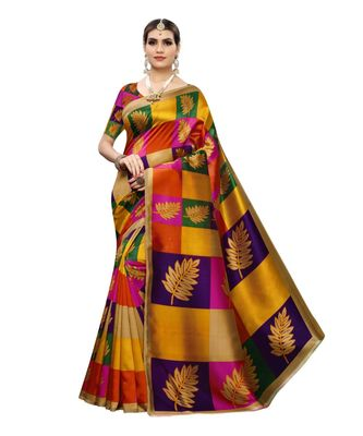 Multicolour Check Printed Art Silk Saree With Blouse For Women