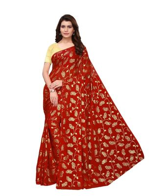 Red Golden Printed Art Silk Saree With Blouse For Women