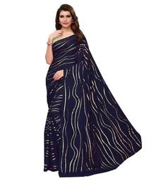 Blue Golden Printed Art Silk Saree With Blouse For Women
