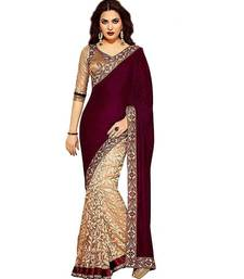 Maroon Velvet Saree With Blouse For Women