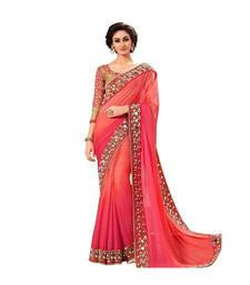 Pink Mirror Work Georgette Saree With Blouse For Women