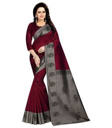 Maroon Printed  Art Silk Saree With Blouse For Women