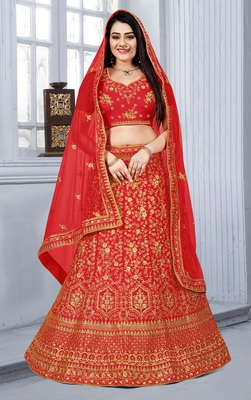 Red embroidered silk semi stitched bridal lehenga