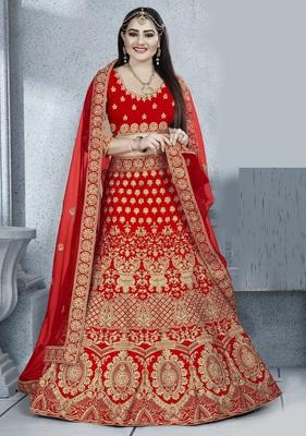 Red zari embroidered silk semi stitched Wedding lehenga