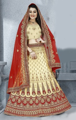 Beige zari embroidered silk semi stitched Wedding lehenga