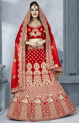 Red embroidered silk semi stitched bridal lehenga