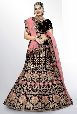 Maroon embroidered velvet semi stitched bridal lehenga