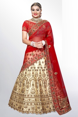 Beige embroidered velvet semi stitched lehenga