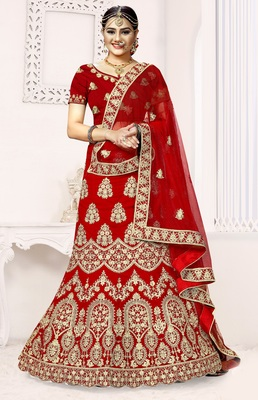 Red zari embroidered velvet semi stitched lehenga